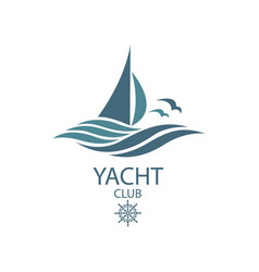 yacht and waves icon vector image