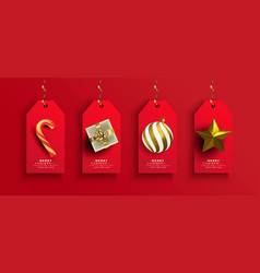 year gold 3d gift ornament tag set vector image