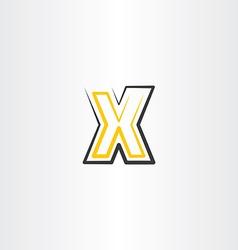 yellow black letter x icon logo logotype sign vector image