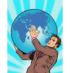 Businessman Titan Atlas holds the Earth vector image