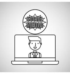 character draw technology social media vector image