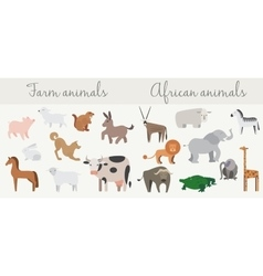Cute african and farm animals set vector
