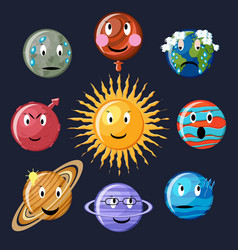 planets emoticon set vector image vector image