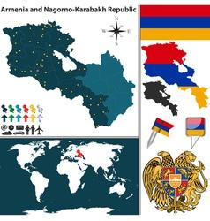 Armenia with Nagorno Karabakh Republic map vector image vector image
