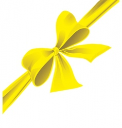 big bow of yellow ribbon vector image vector image
