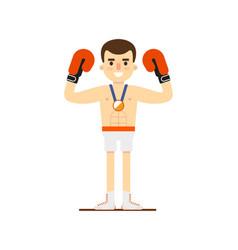 Boxing man winning bronze medal vector