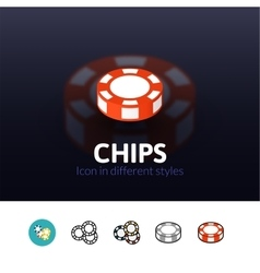 Chips icon in different style vector