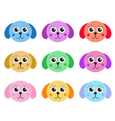 collection of cute colorful puppy dog isolated on vector image vector image