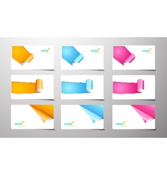 set of gift cards with rolled corners vector image