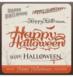 Set of happy halloween greetings typography vector image vector image