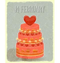 Valentines Cake on Grunge Background vector image vector image
