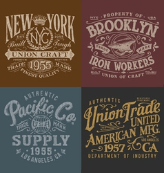 Vintage workwear graphics set vector