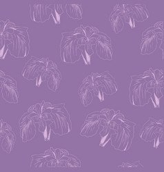 abstract floral lilac background hand drawn iris vector image vector image