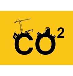 co2 pollution in text with city vector image