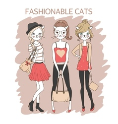 fashion girls cats vector image