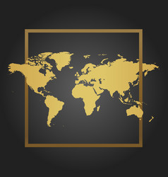 golden political world map in black background vector image