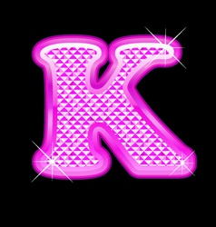 K letter pink bling girly vector