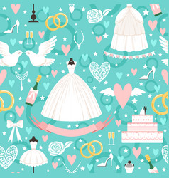 seamless pattern with different wedding symbols in vector image vector image