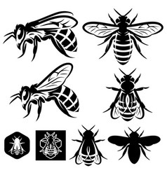 set of monochrome templates with bees of vector image vector image
