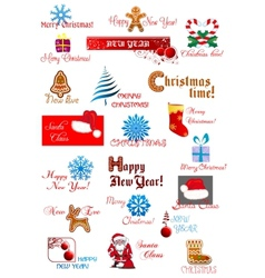 Christmas and New Year symbols set vector image vector image