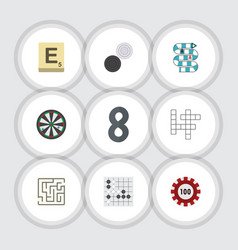 flat icon entertainment set of mahjong vector image vector image