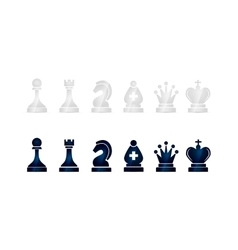 Glossy black and white chess icons on white vector image vector image