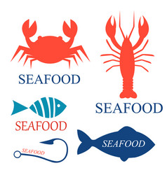 set of seafood logo templates vector image vector image