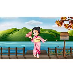 A girl wearing a chinese dress with a wooden vector image
