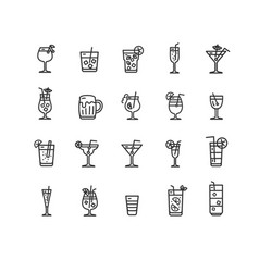 alcohol bar black thin line icon set vector image
