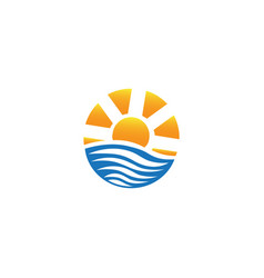 bright sun on sea waves for logo design vector image
