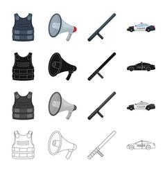 Bulletproof vest loudspeaker police baton car vector
