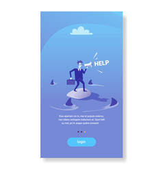 Businessman standing island calling for help in vector