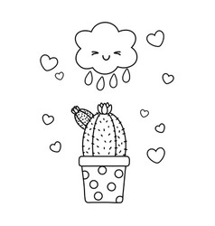 Cactus with cloud black and white vector