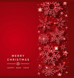 christmas background with shining red snowflakes vector image
