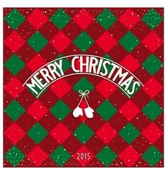 Christmas checkered greeting card vector