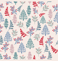 christmas rustic pattern with xmas trees vector image
