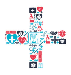 Color background with health icons forming a cross vector