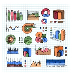 Colored Graphs Charts and Diagrams on Grid Lines vector image
