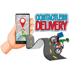 Contactless delivery logo with bike man or vector