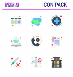 Covid19-19 icon set for infographic 9 flat color vector