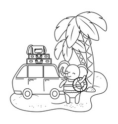 Cute animal enjoying summer vacations vector