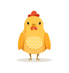 Cute cartoon chicken standing colorful character vector