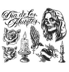 Dia de los muertos elements set vector