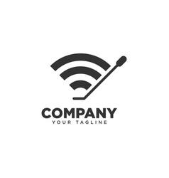 Dj wifi logo design template vector