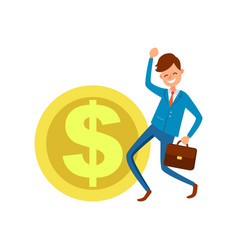 dollar icon and businessman making yes gesture vector image