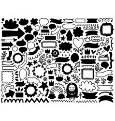 Doodle decor elements set vector