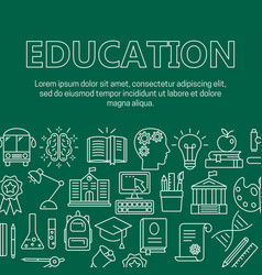 education poster with line icons vector image