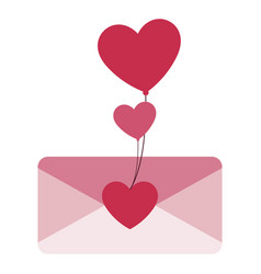 envelope letter love with hearts balloons helium vector image