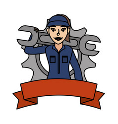 Female young mechanic worker with gear and ribbon vector