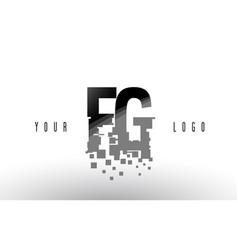 fg f g pixel letter logo with digital shattered vector image